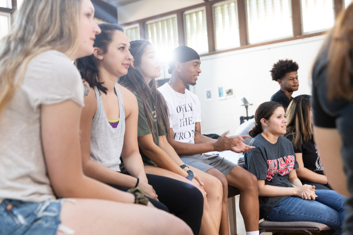 Holy Names University first-year students sitting together