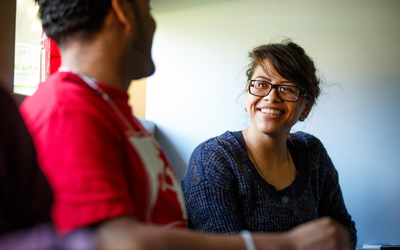 HNU student and professor talking