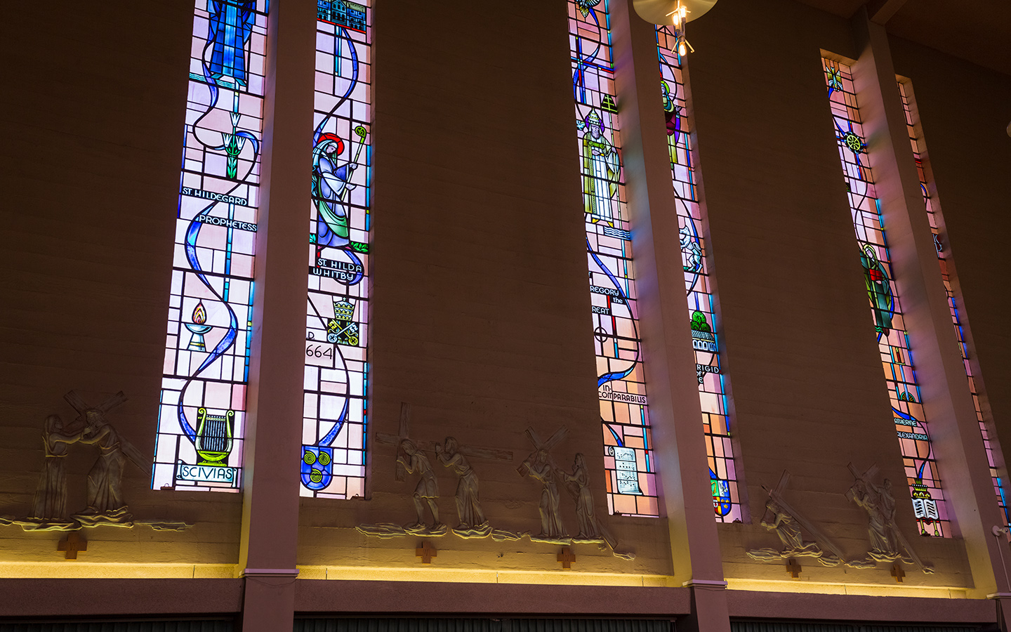 Holy Names University Campus Ministry stained glass windows