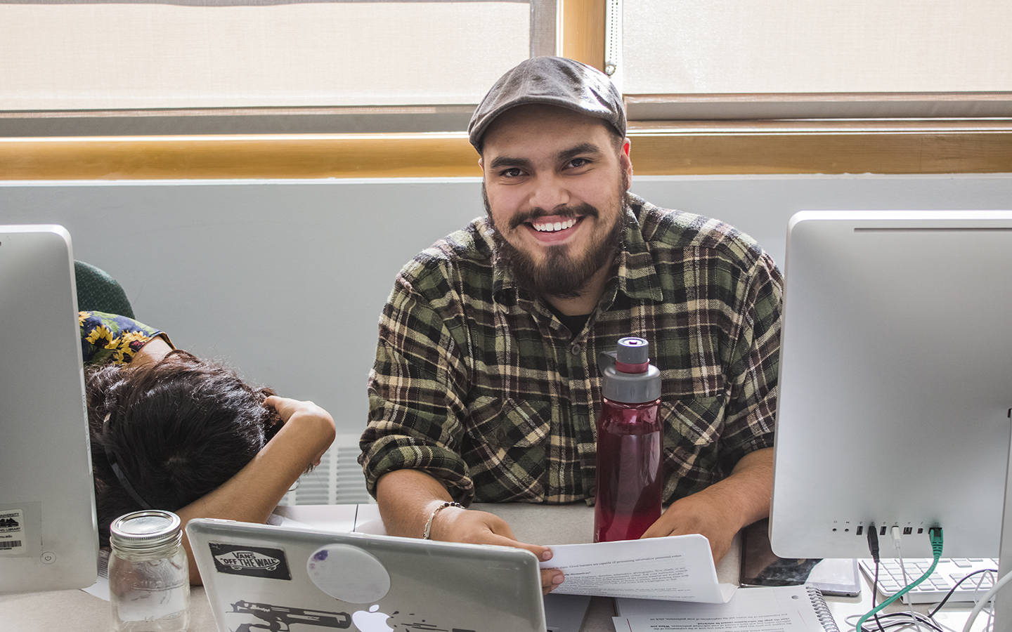 Student at a laptop