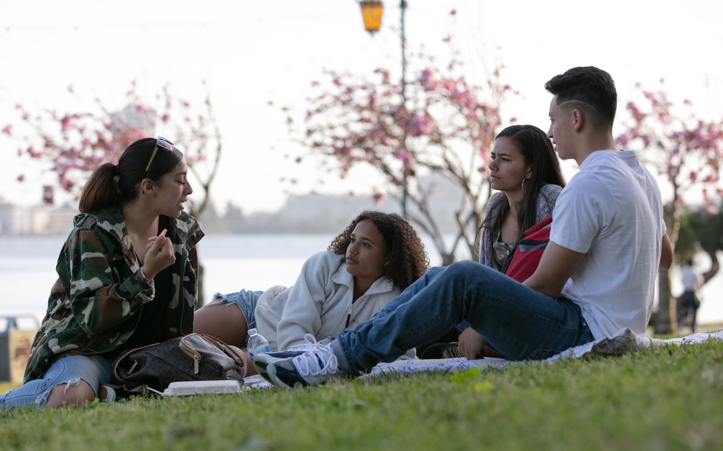 Holy Names University students talking together on lawn
