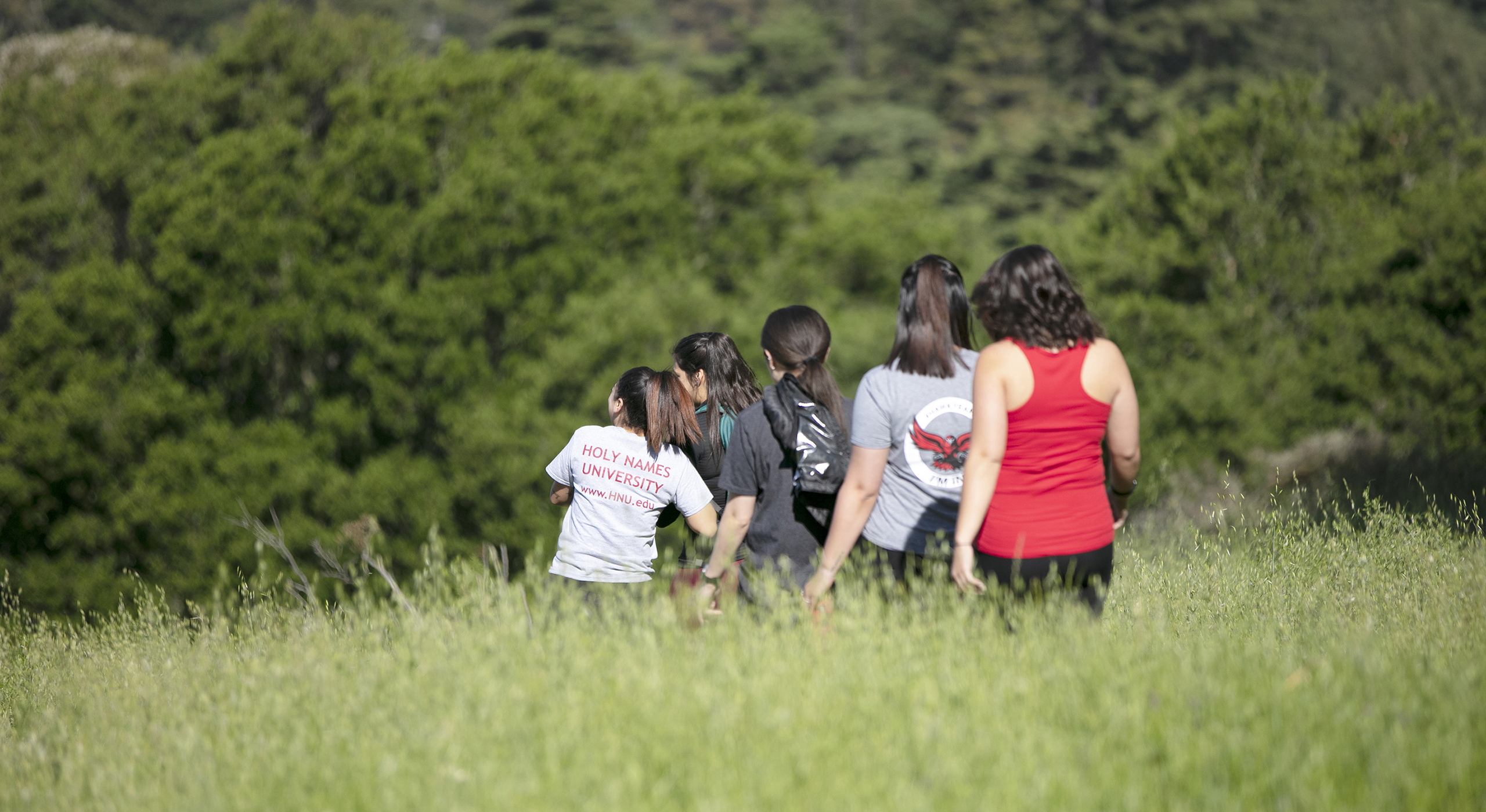 five Holy Names students exploring nature in California