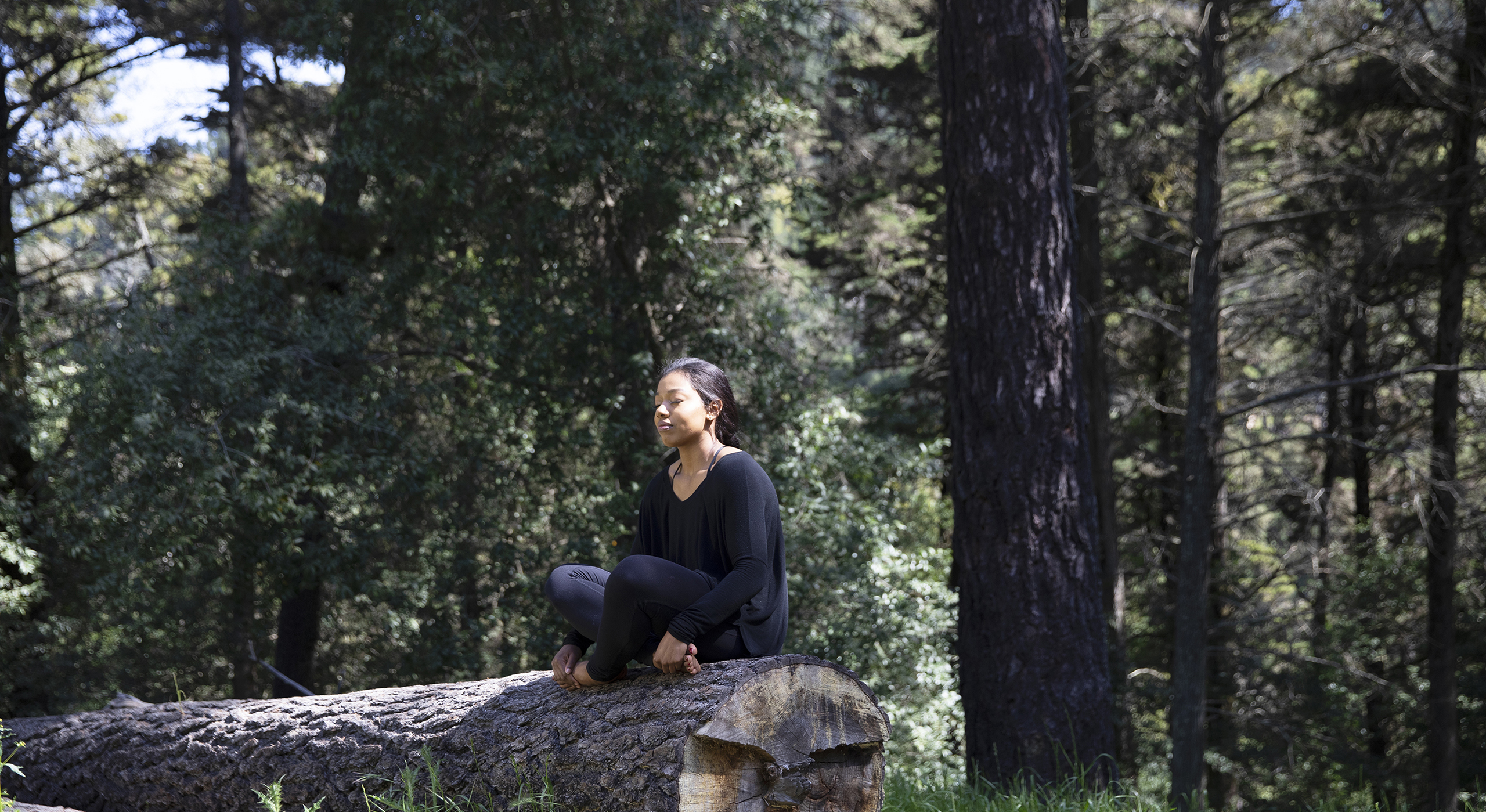 student engaging in yoga on a tree trunk
