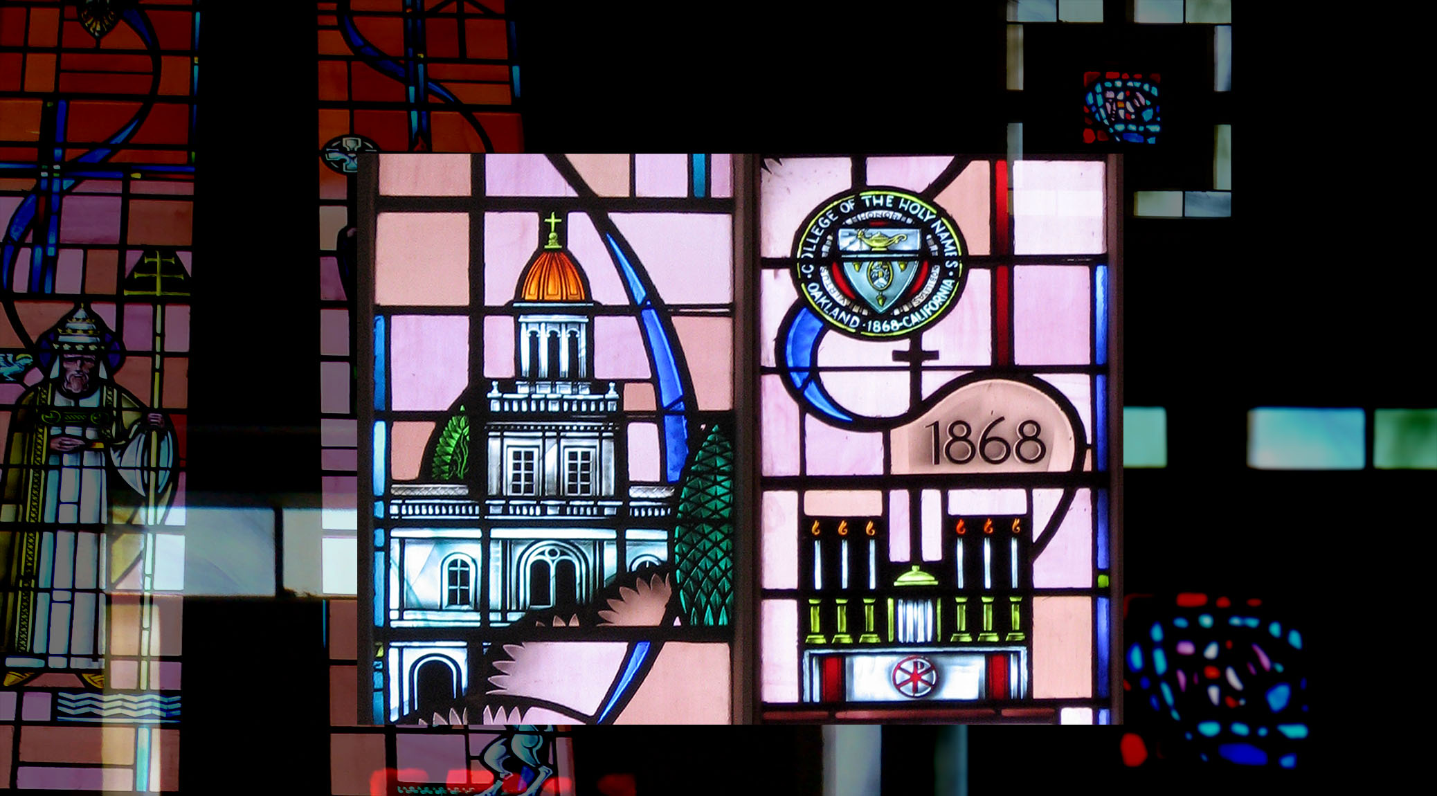 Stained glass representation of Campus Ministry at Holy Names University