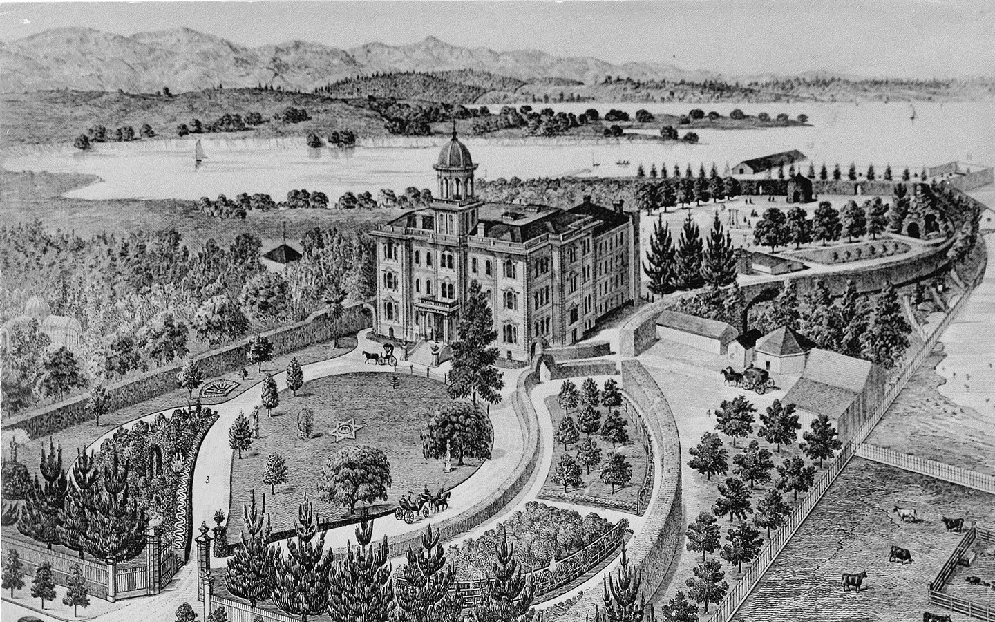 Historical black and white drawing of Holy Names University campus