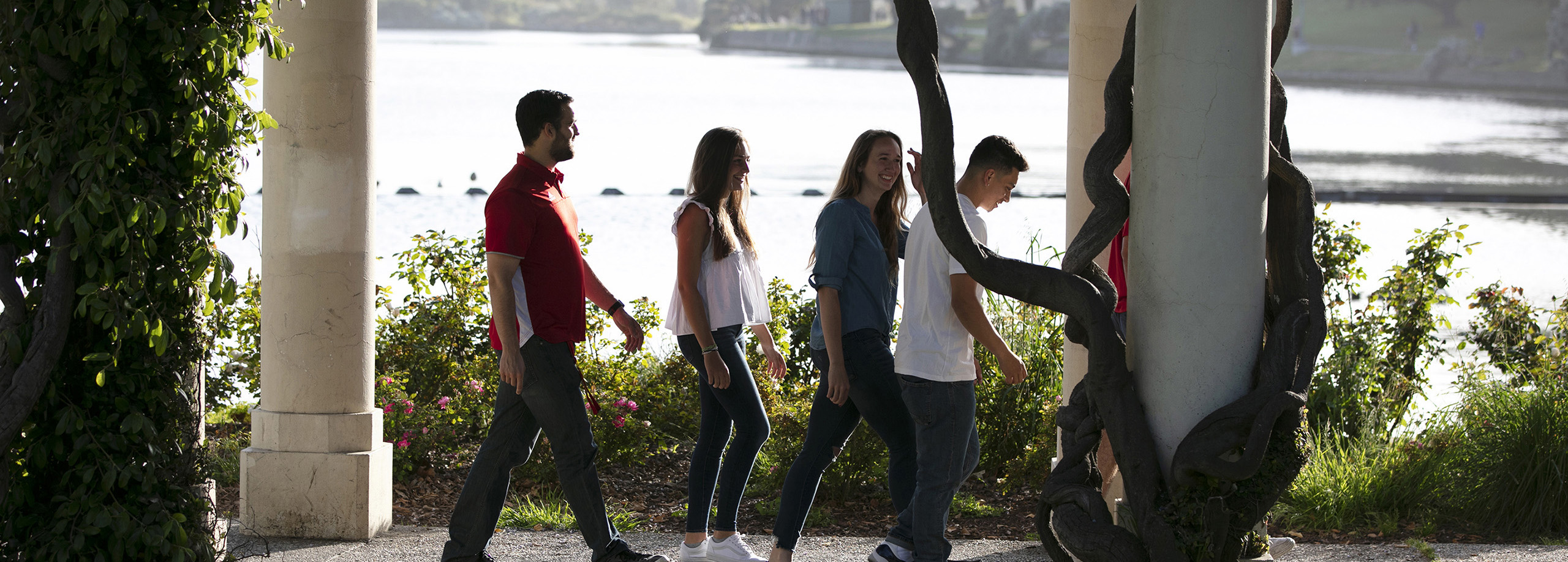 group of HNU students walking on campus