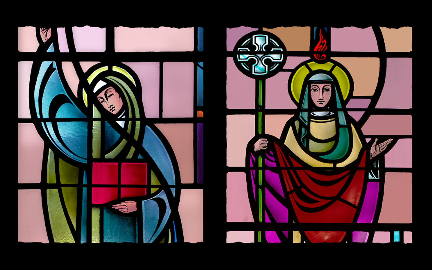 Stained glass Saints Catherine and Brigid