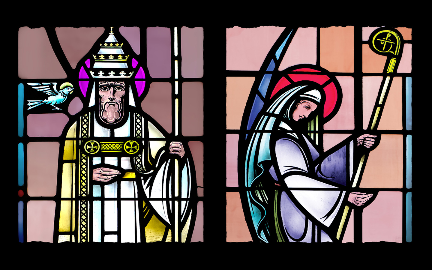 Stained glass Saints Gregory and Hilda