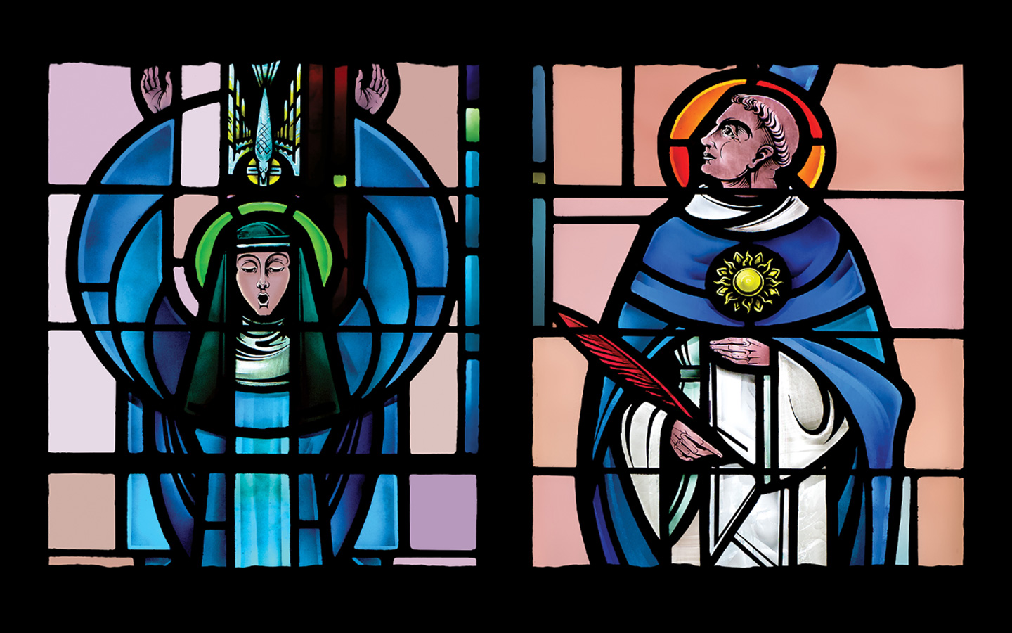 Stained glass window of Saints and Scholars in McLean Chapel on Holy Names University campus