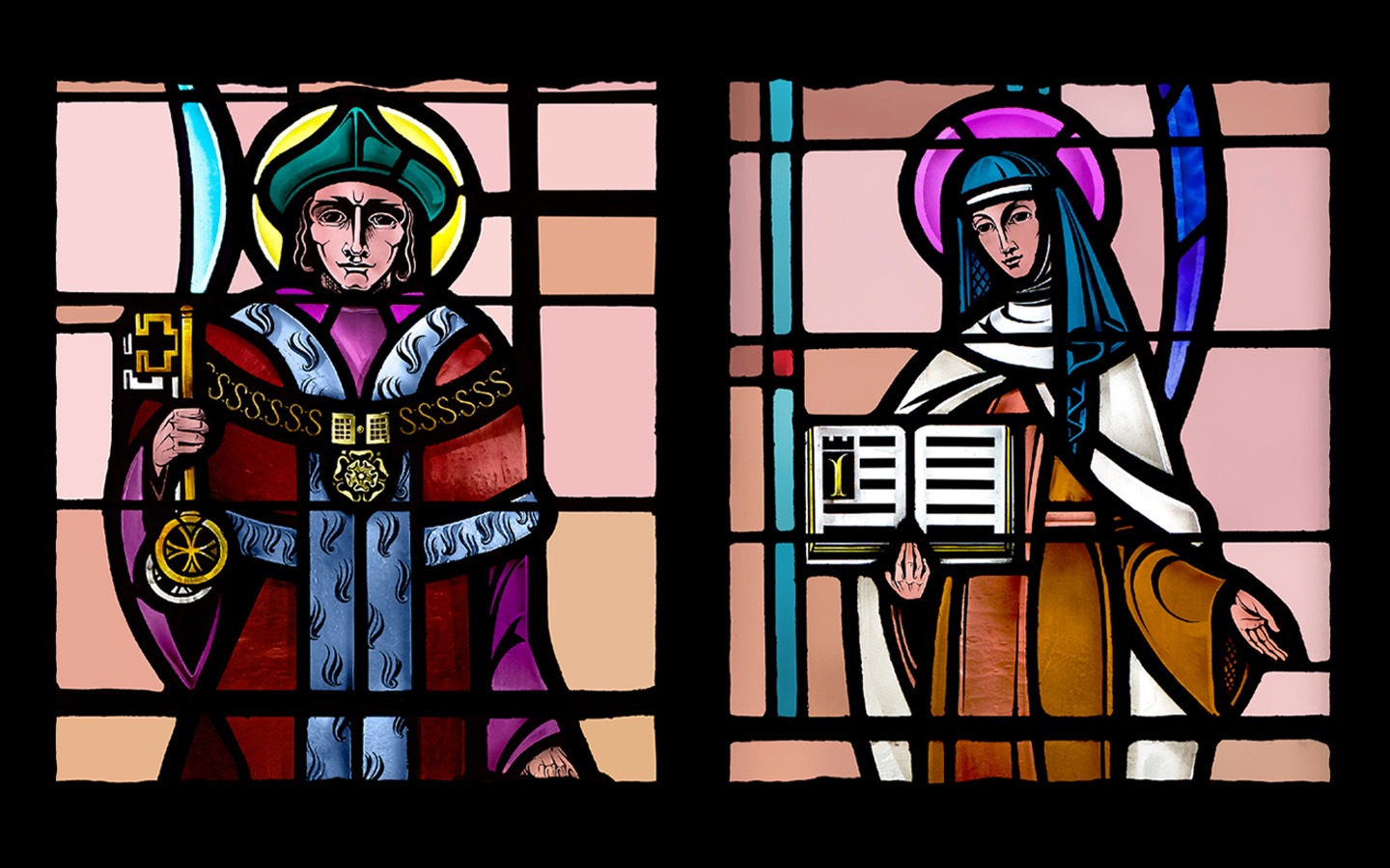 Stained glass Saints Thomas More and Teresa Avila