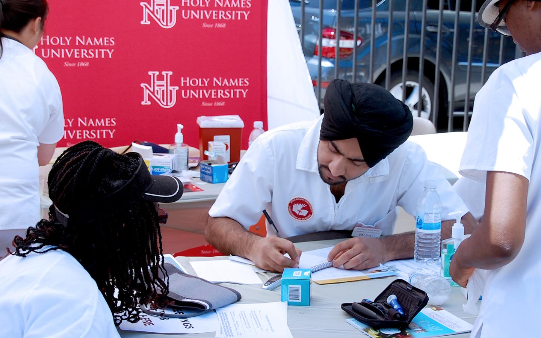 Holy Names University nursing students volunteering