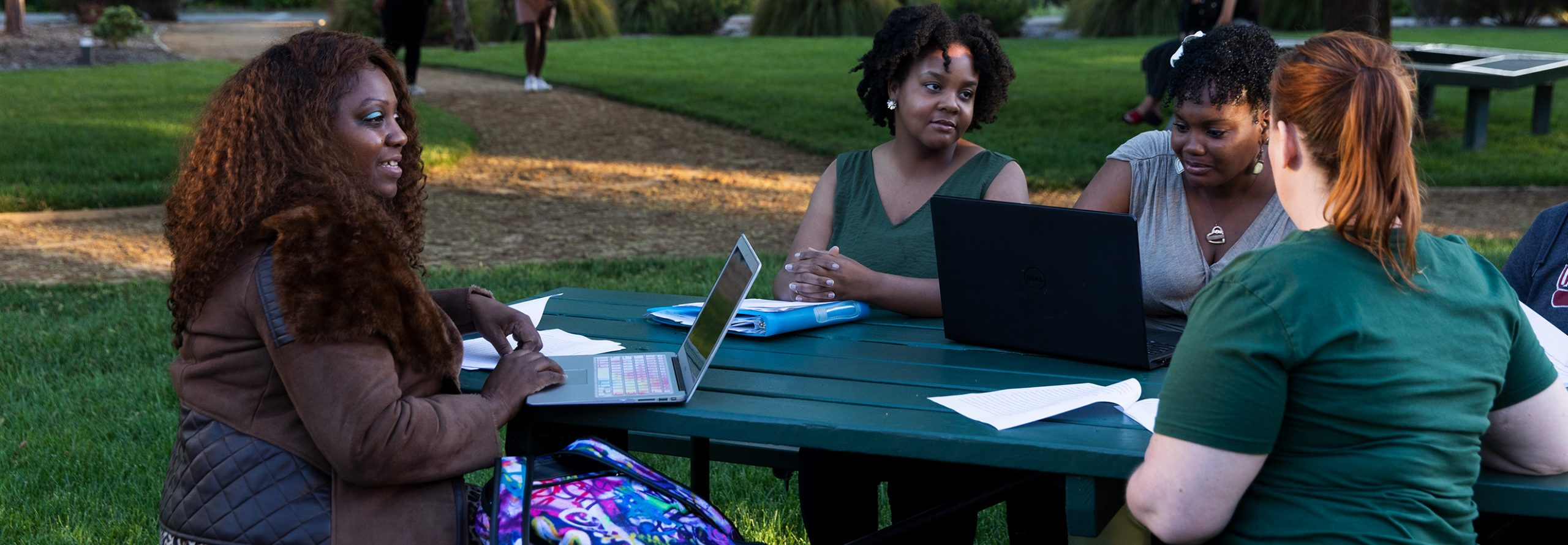 five HNU students studying outside