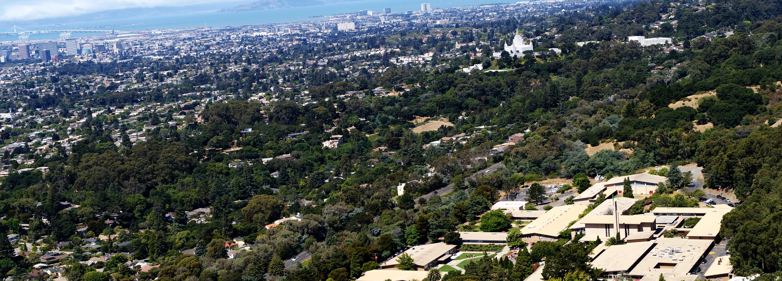 sky view of Oakland, California over Holy Names University campus