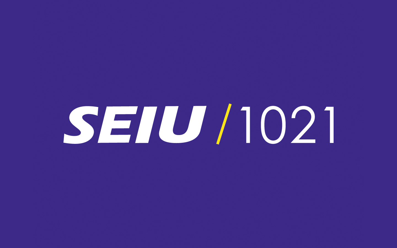 SEIU / 1021 in white text on purple background