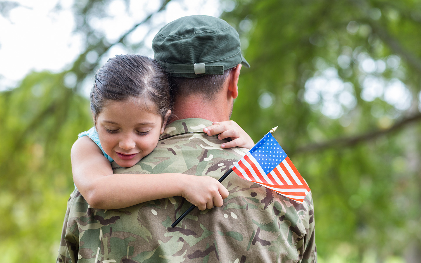 Veteran dad with young child