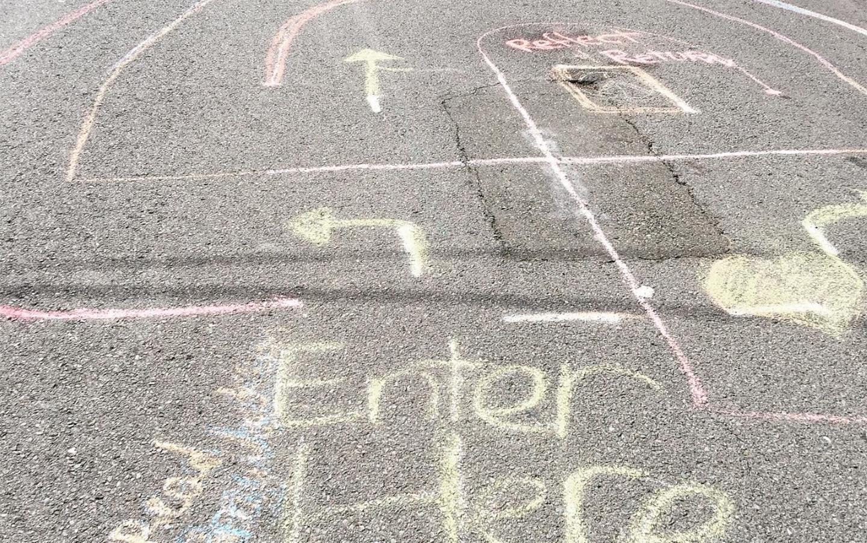 Chalk drawing on Oakland sidewalk