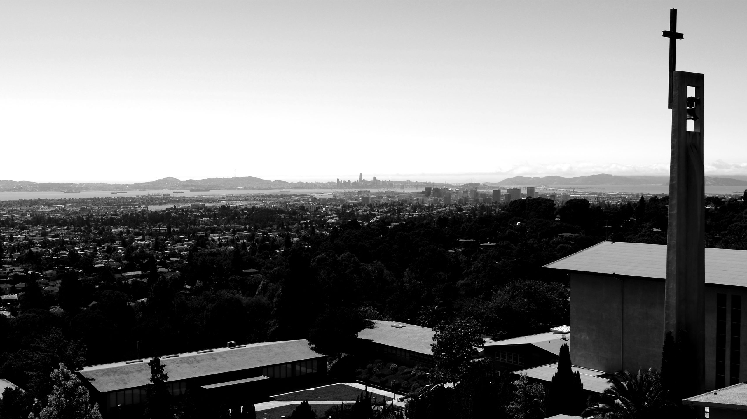Black and white sky view of Holy Names University Campus in Oakland, California