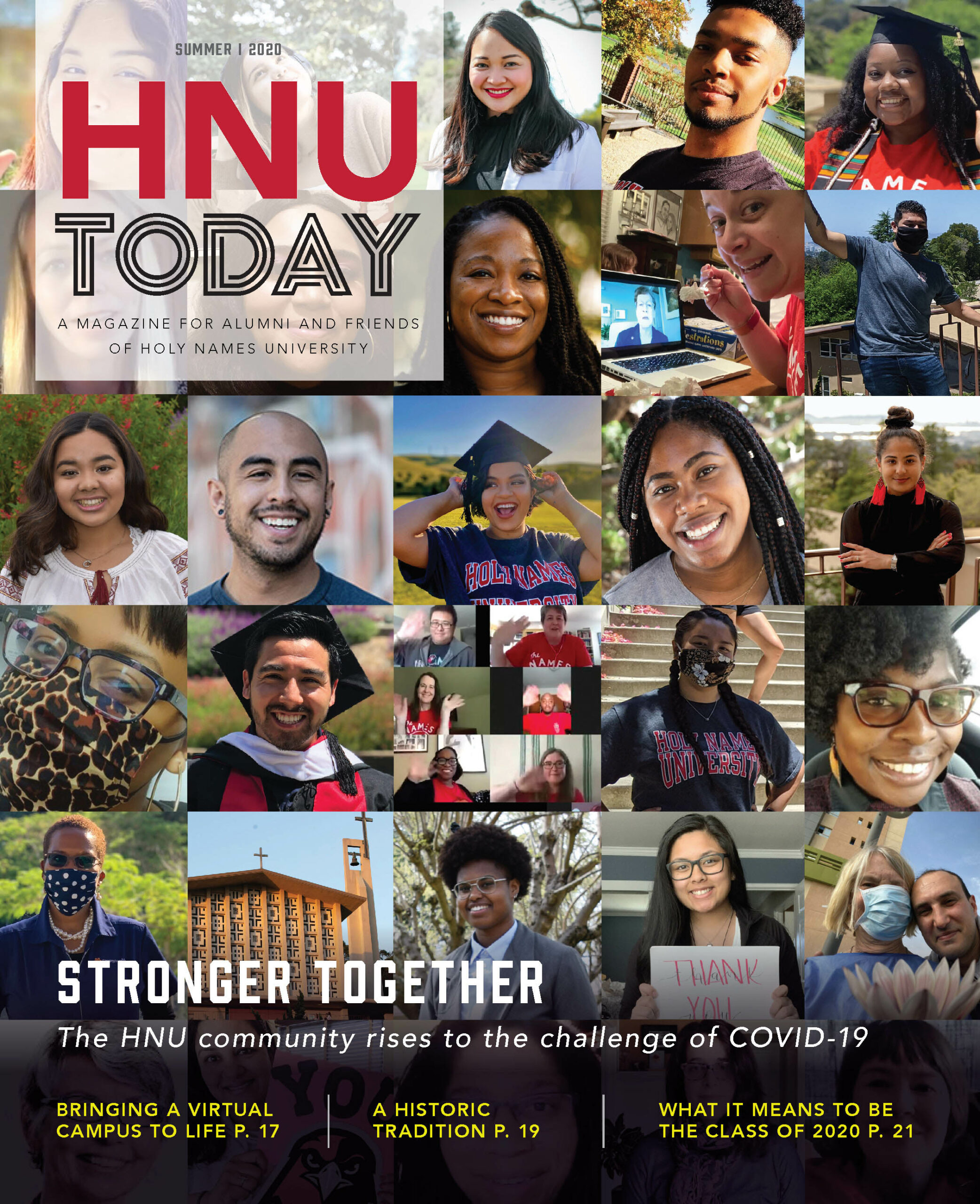Collage of Holy Names University alumni and friends for Summer 2020 edition of HNU Today magazine