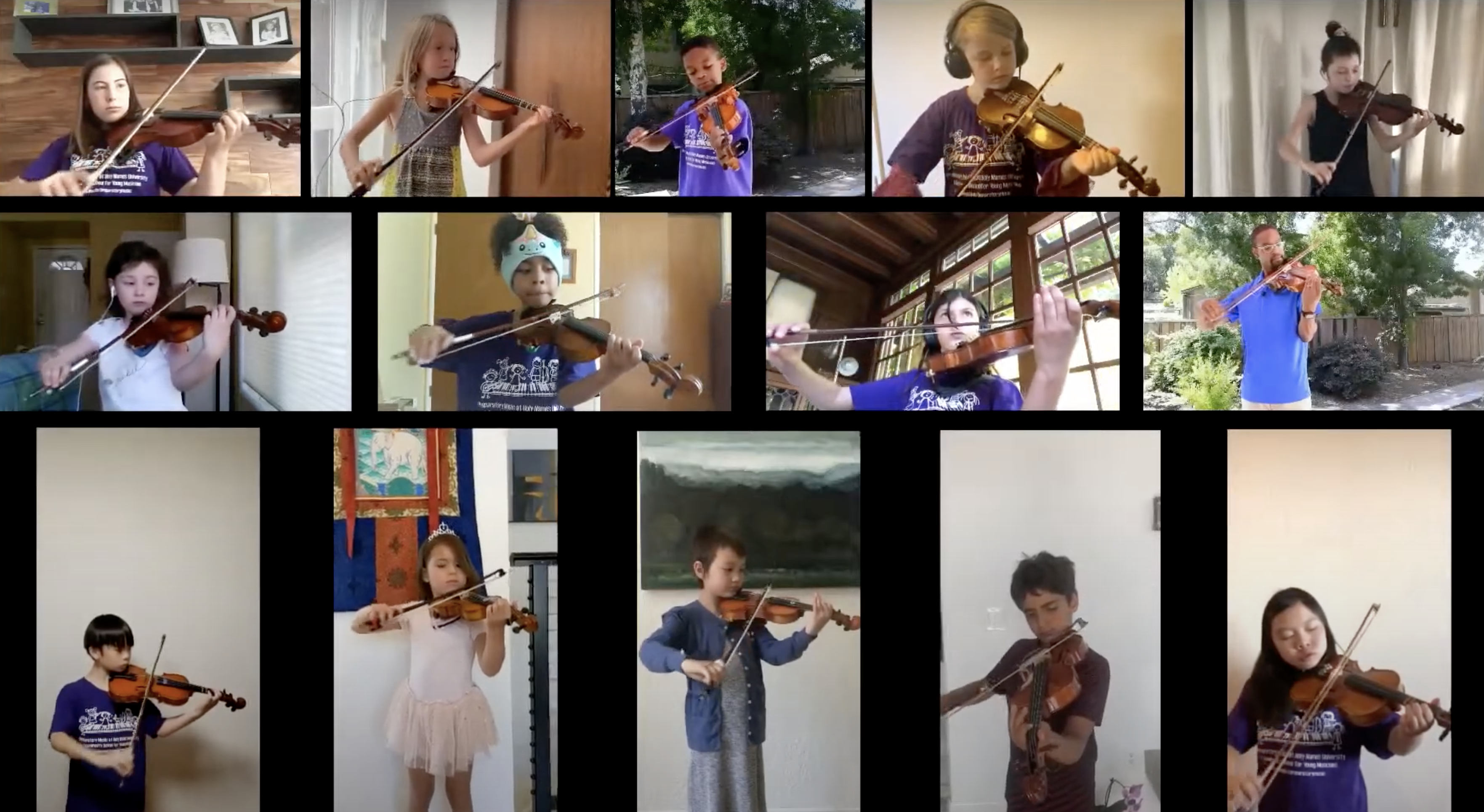 Collage of HNU Preparatory Music students and teachers playing violin together virtually
