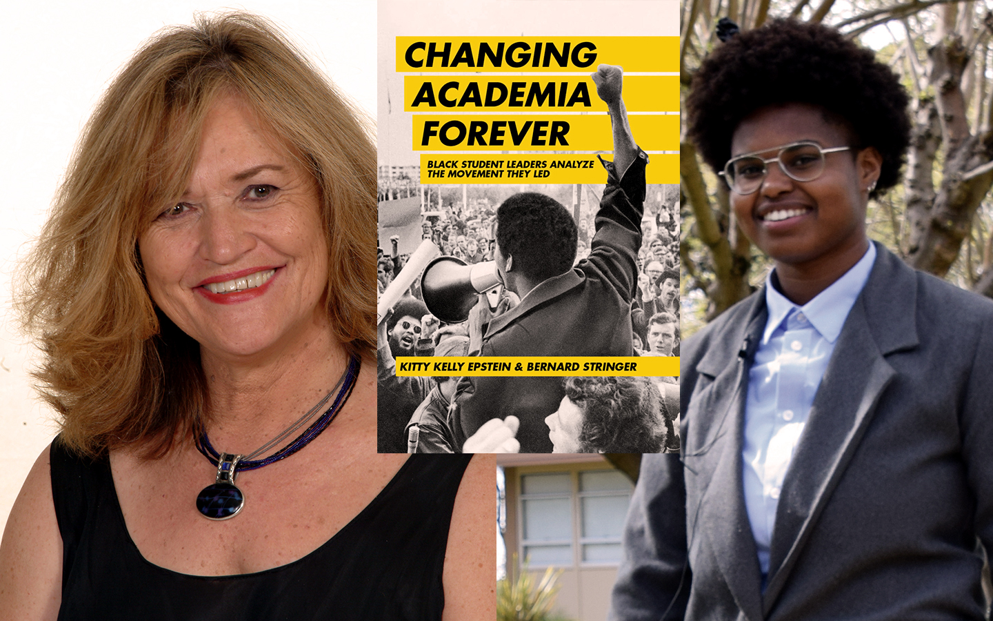Kitty Kelly Epstein and Bernard Stringer with Changing Academia Forever interview poster