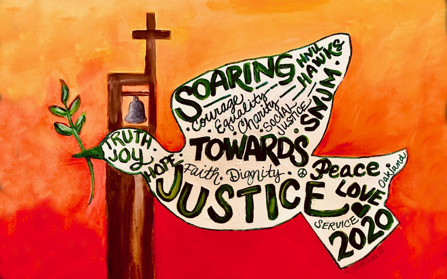 Painting of dove bird with soaring towards justice message
