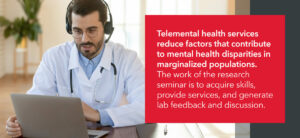 telemental health services reduce factors that contribute to mental health disparities in marginalized populations